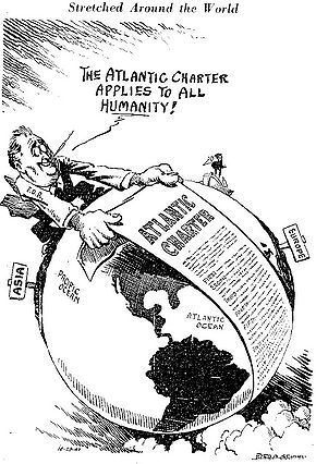 """Officially the original """"Atlantic Charter"""" was really just a press release; it was not a treaty which would require Senate approval, nor was it signed by anyone. The vague policies it formulated echoed the Fourteen Points issued by Woodrow Wilson in 1918, and evolved into the United Nations Charter in 1945. However, there was no mention of an international organization in 1941. Even so, isolationists denounced it as too favorable to Britain, and darkly warned that there probably were secret…"""