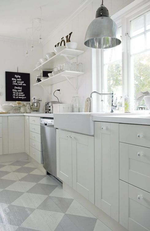 Painted wood floor, white cabinets, open shelving, industrial pendant, chalkboard, farm sink.