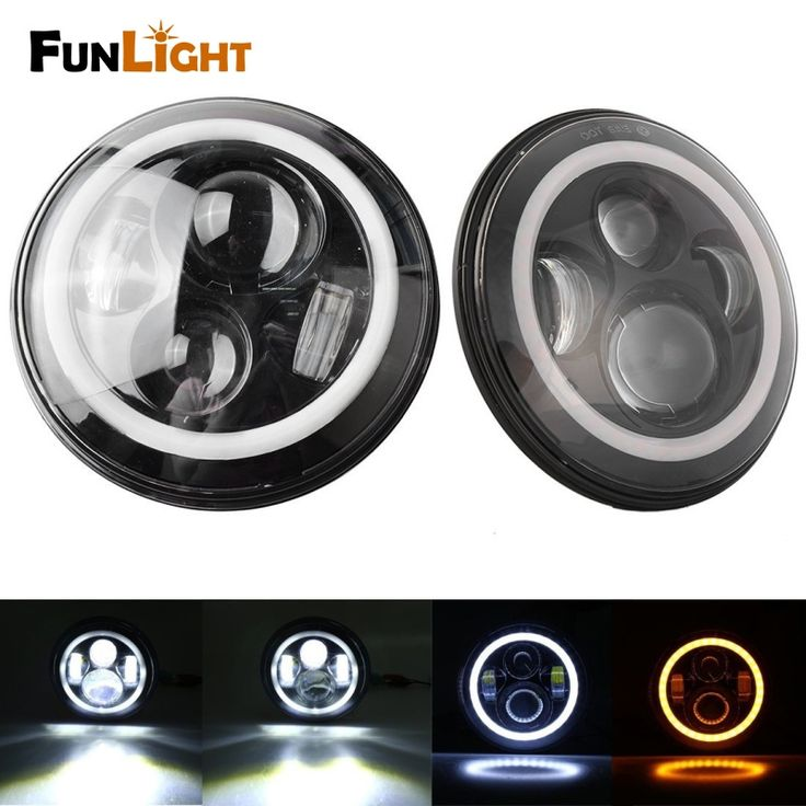 99.64$  Watch now - http://alid7d.worldwells.pw/go.php?t=32756496731 - Free shipping 7 Inch Round LED Headlight Sealed Beam Assembly For jeep Wrangler H4 40W Amber halo Turn Signal + White DRL