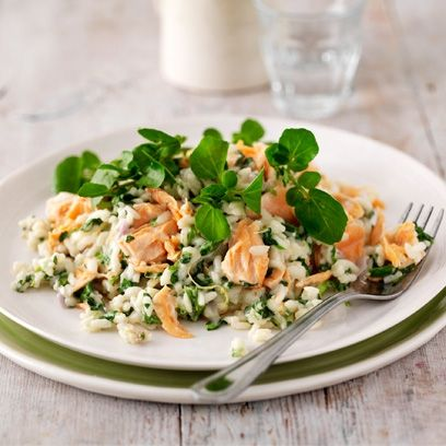 Watercress and salmon risotto. For the full recipe, click the picture or visit RedOnline.co.uk