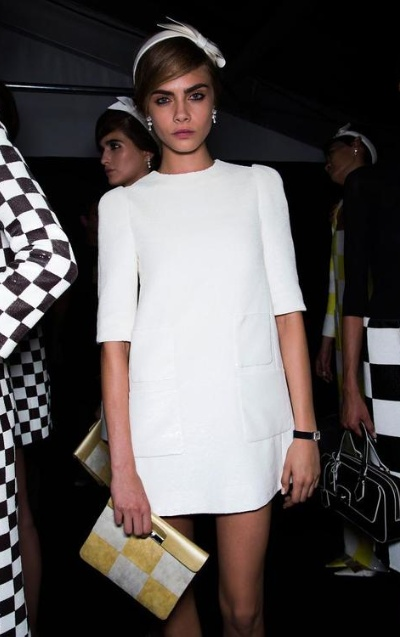 little white dress- Cara Delevingne at Louis Vuitton Spring 2013