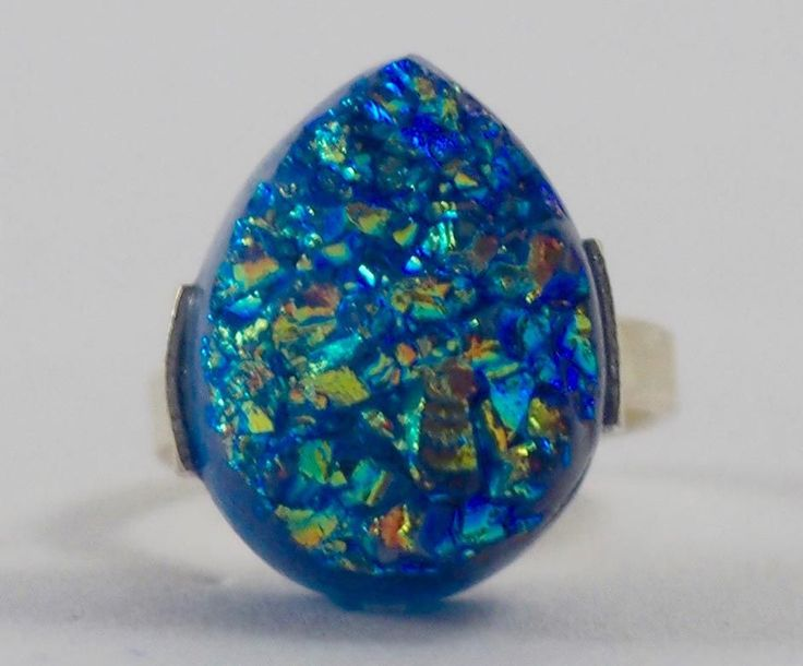 Handmade Silver Plated Ring with Titanium Druzy Stone