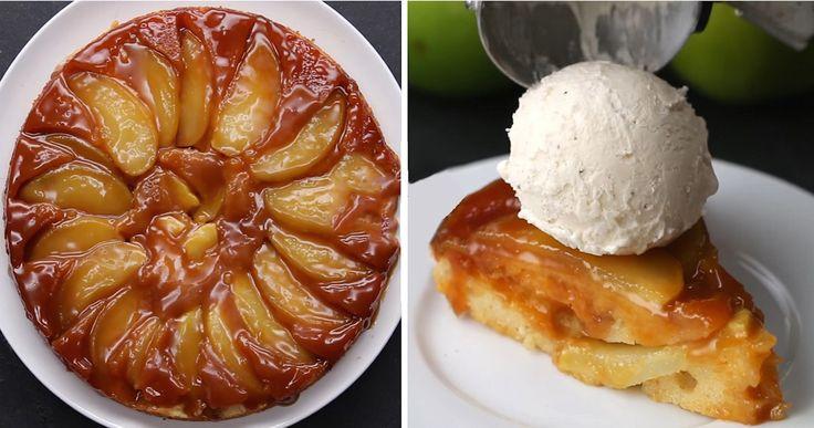 Fordított almás süti, csak keverj össze minden hozzávalót és öntsd a tortaformába!