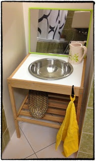 mini bathroom DIY ikea nesna & stainless steel bowl