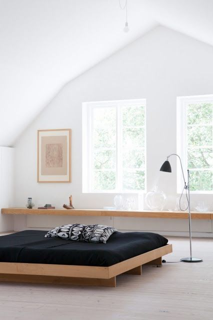 I like the long bench seat / shelf under the windows. Swedish summer house renovated with the help of architectsClaesson Koivisto Rune.