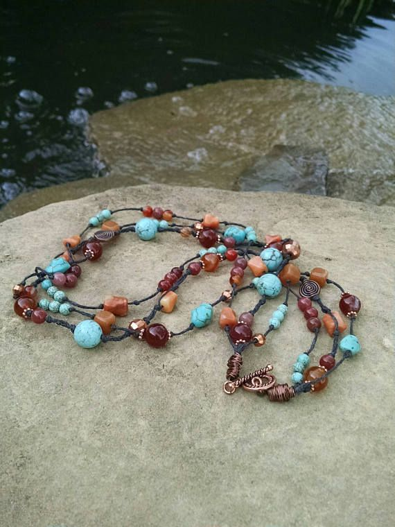 Check out this item in my Etsy shop https://www.etsy.com/listing/479062975/multi-strand-necklace-knotted-boho-style