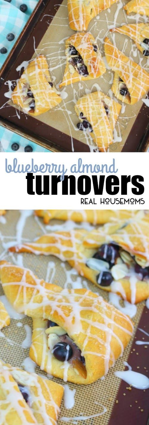 If breakfast pastries are your thing then these Blueberry Almond Turnovers are for you!  This delicious turnover recipe is made with refrigerated crescent roll dough a super easy breakfast treat! via @realhousemoms