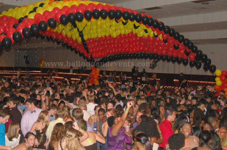 Homecoming school dance featuring a Balloon Dance Floor Canopy with the theme ROCK OF AGES> #DANCEFLOOR #CANOPY #HOMECOMING #FIRE #stanton #qualatex