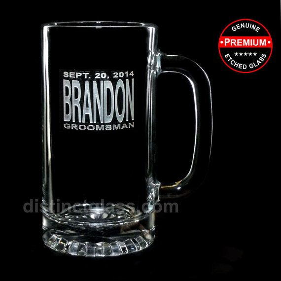 Featuring another exclusive Distinct Glass Studio design.  Your Big Day is deserving of a toast and this handsome beer mug is definitely