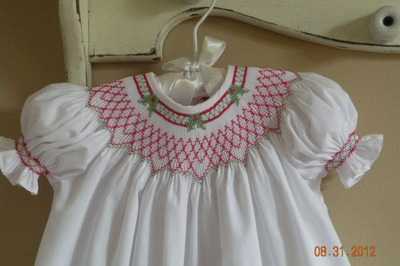 Hand Smocked Christmas Dress     Christmas in July                    Sizes Newborn- 24 months