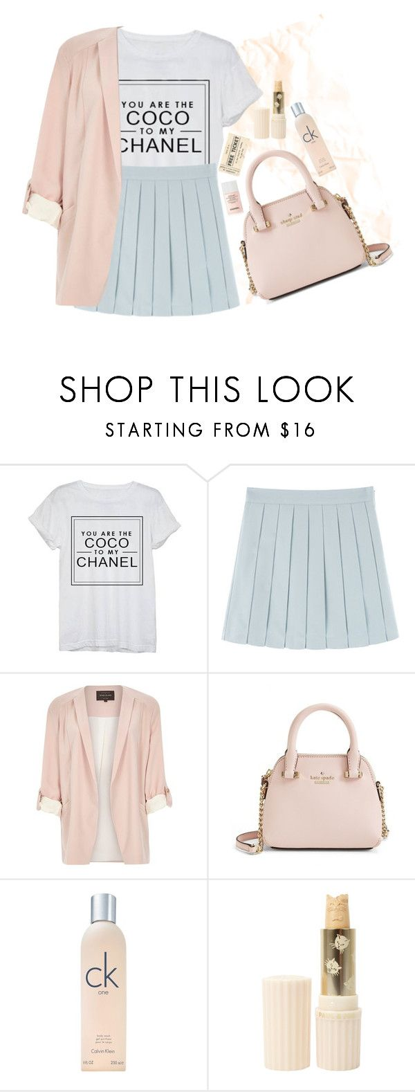 """""""Pleated skirt"""" by tilly-bailey ❤ liked on Polyvore featuring Chanel, River Island, Kate Spade, Calvin Klein and Paul & Joe"""