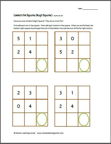 math worksheet : magic squares addition free worksheets  magic squares addition  : Math Magic Squares Worksheets