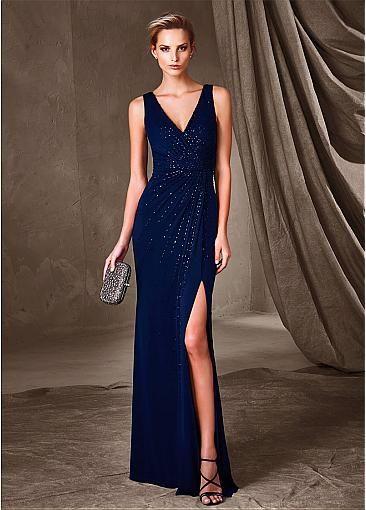 Modest Chiffon V-Neck Sheath Evening Dresses With Beads