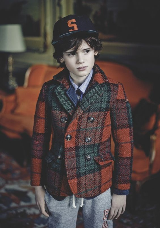 More plaid for boys fashion with a sharply tailored blazer jkt at Scotch Shrunk for winter 2014