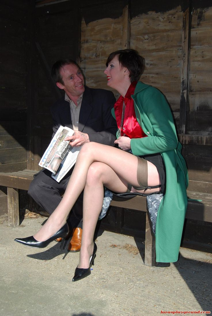 Wife flashing stocking tops — img 7