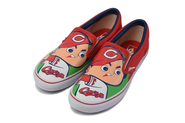 Hiroshima Toyo Carp x Vans Slip-On red white baseball