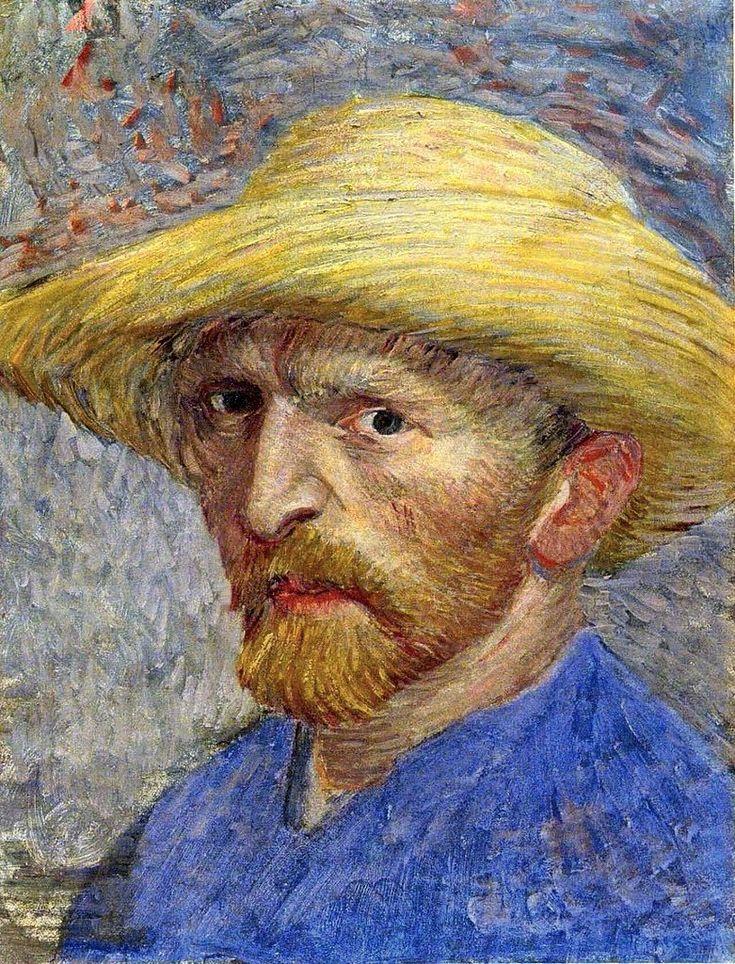 Vincent van Gogh (1853 - 1890) ▬ É um dos maiores pintores que já existiu. Produziu belíssimas pinturas pós-impressionistas e que hoje são mundialmente famosas, como Noite Estrelada (1889) e Os Girassóis (1888). Diversas outras obras compõem o acervo do pintor e destacam a sua genialidade na pintura, mesmo tendo sofrido de problemas psicológicos. Foram a causa de sua morte prematura, com apenas 37 anos de idade. Obra: Autorretrato com Chapéu de Palha - 1887