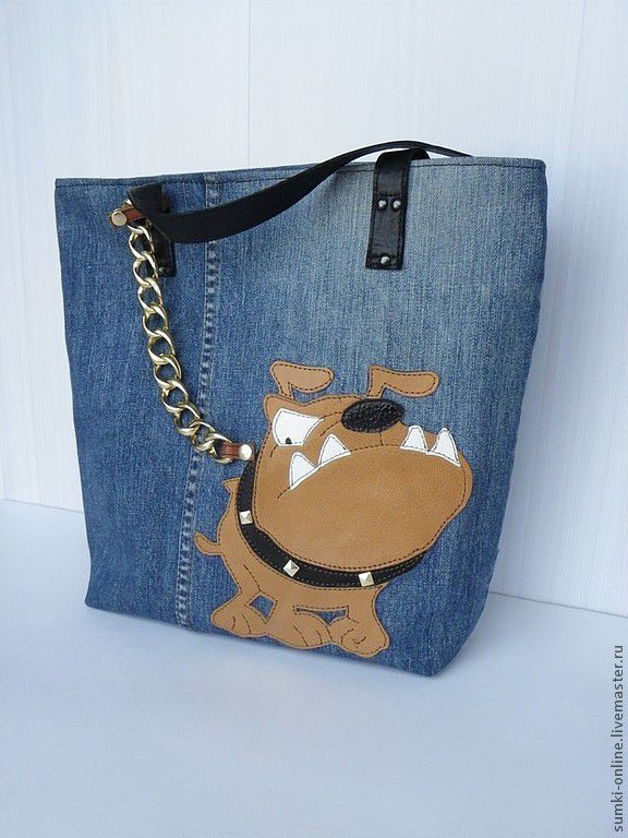 """Купить Сумка джинсовая """"Be careful !"""" - синий, рисунок, сумка с аппликацией…"""