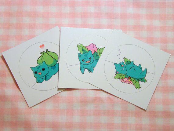 Pokemon Stickers - Set of 3 Bulbasaur Evolution #etsy