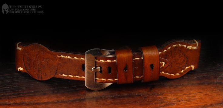 Handmade leather strap, 24 mm T 585  jeanraval@gmail.com www.topouzelli.com