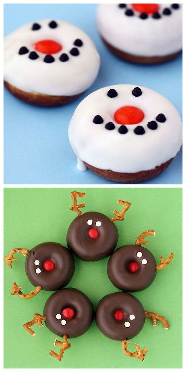 diychristmascrafts: DIY Holiday Reindeer and Snowman Donuts...