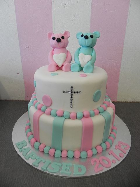 Twin Christening Cake Boys Girls And Cakes