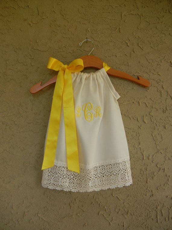 Monogrammed Ivory Lace Pillowcase Dress  sizes 3m by theuptownbaby, $35.00