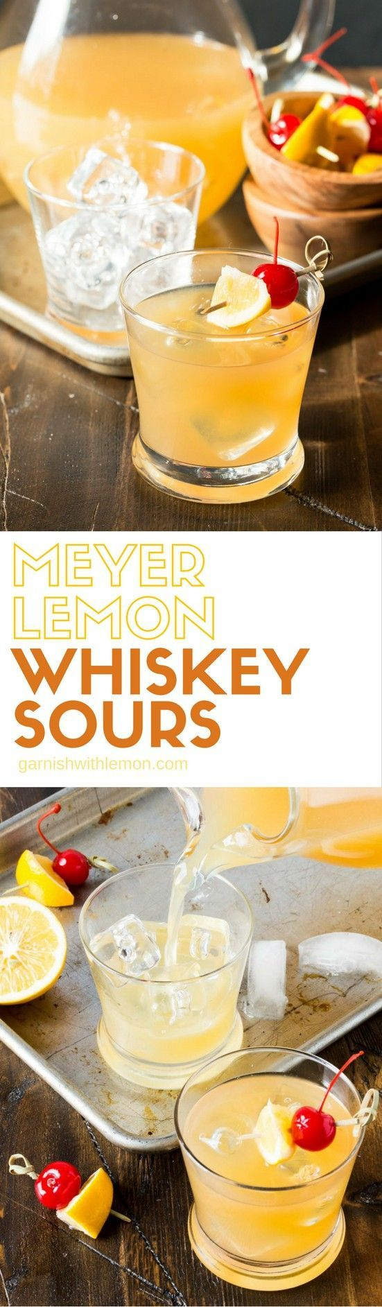 No need to play bartender to your guests with this batch cocktail recipe for fresh Meyer Lemon Whiskey Sours!  #whiskey #whisky #cocktails #drinks #batchcocktails