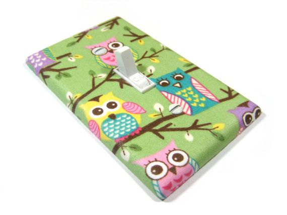 Pale Green Owls Light Switch Cover Nursery Decor Girls Bedroom Woodland Animals Switchplate Switch Plate