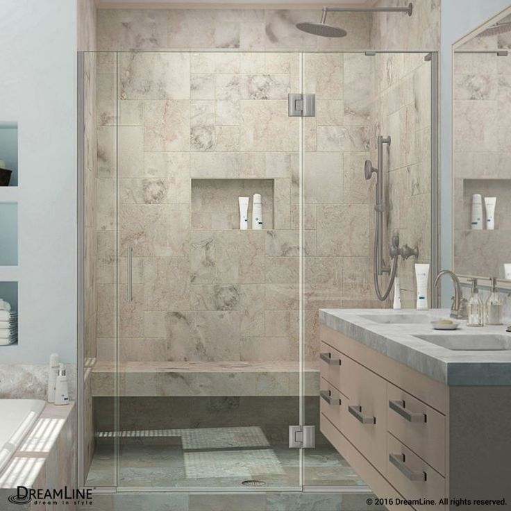 """DreamLine D3271472R Unidoor-X 72"""" High x 65-1/2"""" Wide Right Hinged Frameless Sho Brushed Nickel Showers Shower Doors Hinged"""