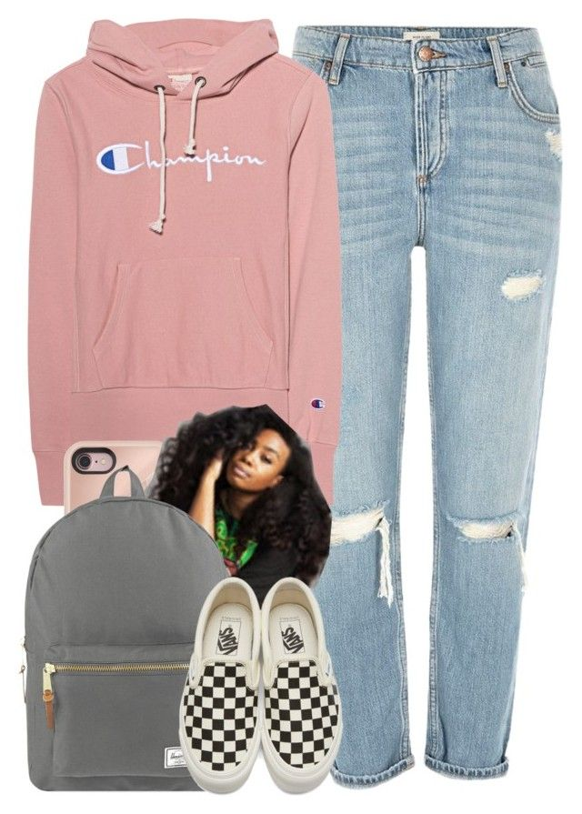 """""""Back To School pt.3"""" by lovely-ash ❤ liked on Polyvore featuring River Island, Champion, Rebecca Minkoff, Herschel Supply Co. and Vans"""