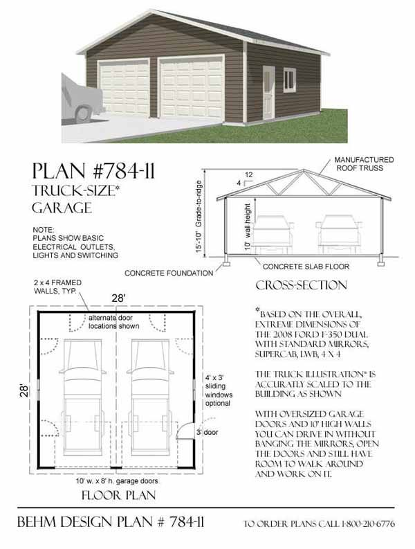delightful 10 car garage plans #3: Truck Sized 2 Car Garage Plan 784-11 28u0027 x 28u0027 by Behm