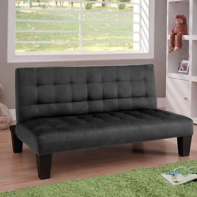 Black-Futon-Kids-Room-Seating-Couch-Loft-Game-Chair-Man-Cave-Bench-Guest-Bed
