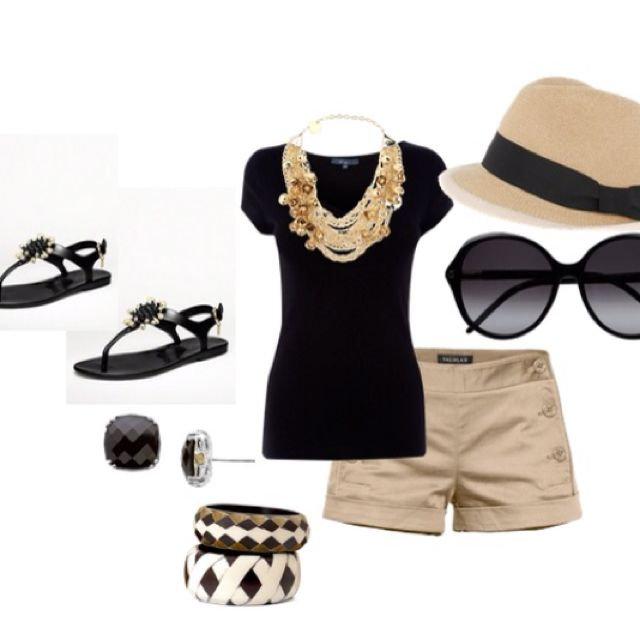 Summer outfit ideas. Black top and khaki shorts. Panama hat. T-strap black sandals.
