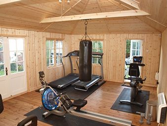 Image result for man cave sheds weight room
