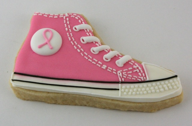 A pink Converse cookie for Breast Cancer Awareness
