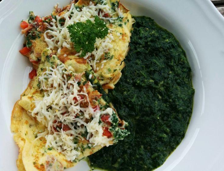 Spenótfőzelék tojáslepénnyel (gluténmentes, laktózmentes recept)