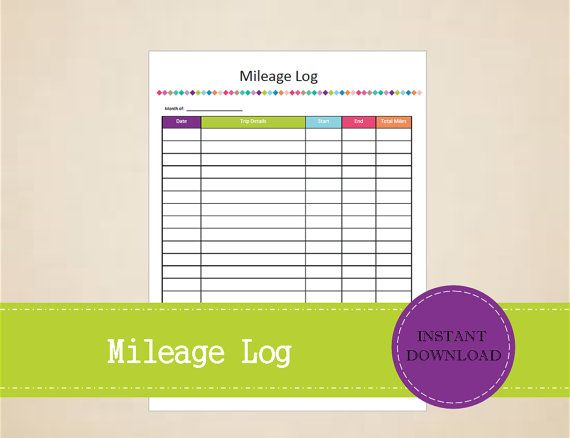 Mileage Log  Business Planner  Printable and by MBucherConsulting