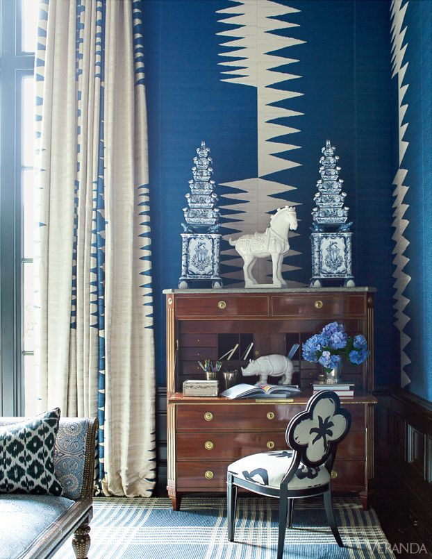 Love The Wall Pattern Reflected In Curtains Fun Idea Best Blue Rooms