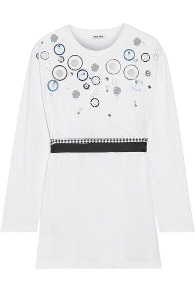 Miu Miu - Embellished Cotton-jersey Top - White - x small