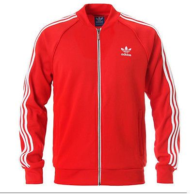 Adidas Superstar Track Jacket Mens AA0156 Red White Zip Top Apparel Size 2XL