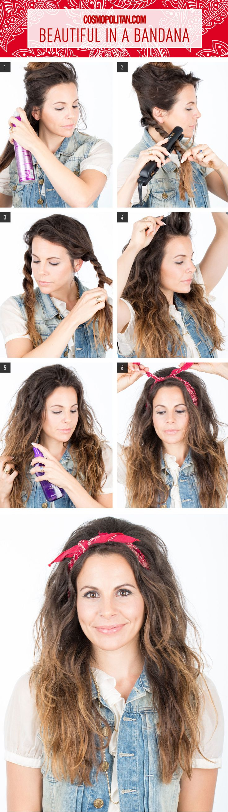 Hair How-To: Look Beautiful in a Bandana. YOU CAN SKIP A FEW STEPS IF YOU ALREADY HAVE WAVY HAIR!!! Yay!