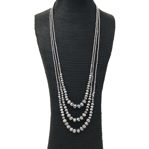 SILVER #CRYSTAL 3 LAYER #NECKLACE JKN036SI #jacquelinekent #ksajewelry #jacquelinekentjewelry
