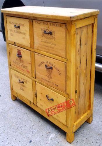 """WijnkistKast met 6 lades. De kast is gemaakt van sloophout en oude wijnkisten. Afmetingen: 70 x 70 x 35 cm. (BxHxD) De wijnkisten """"Grands Crus"""" komen uit Frankrijk. Dit meubel is uitgevoerd voor """"Chateau de Roo"""". Voor meer informatie kunt u contact opnemen met: www.wijnkistkast.nl"""