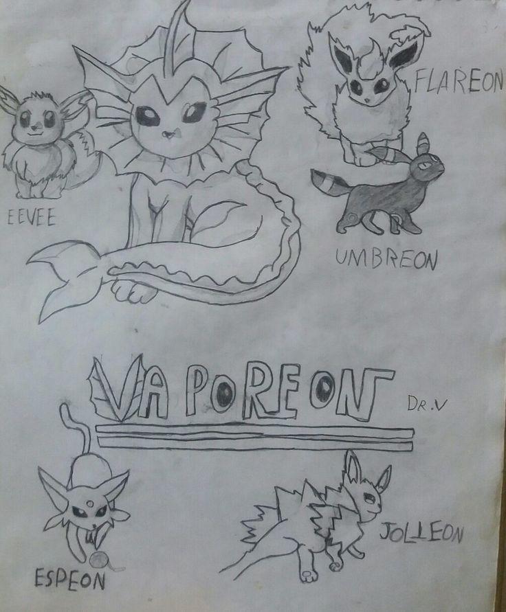 Dibujo antiguo: Eevee, Vaporeon, Flareon, Umbreon, Espeon y Jolteon.