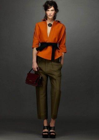 marni resort 2014 - orange jacket + olive pants