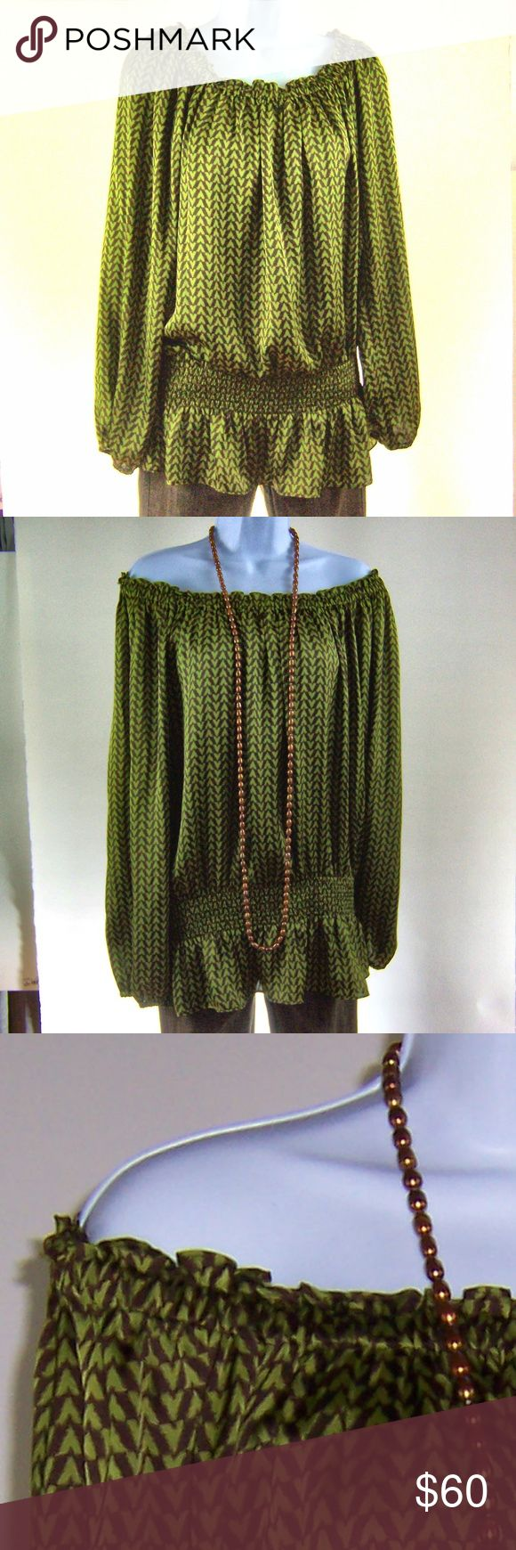 MICHAEL KORS Green Brown Smocked Shirt Women's 1X We are offering a beautiful pullover blouse by Michael Kors. Bohemian styling in avocado green and brown, smocked waist, Women's Plus 1X, in excellent condition. Elastic neckline, machine washable polyester. Very flexible shirt, dress it up or down.  #michaelkors #kors #ilovemichaelkors  #bohemian #avocado #smocking #smockedwaist KORS Michael Kors Tops Blouses
