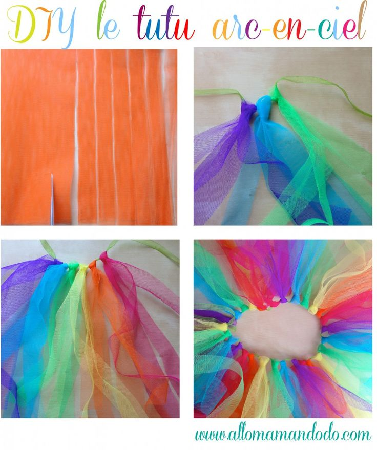 diy tutu arc-en-ciel tulle skirt rainbow