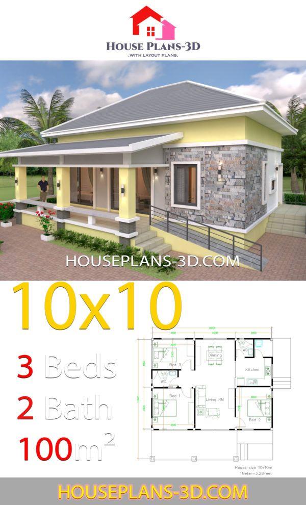 House Design 10x10 With 3 Bedrooms Hip Roof House Plans 3d Rumah Indah Arsitektur Desain Arsitektur