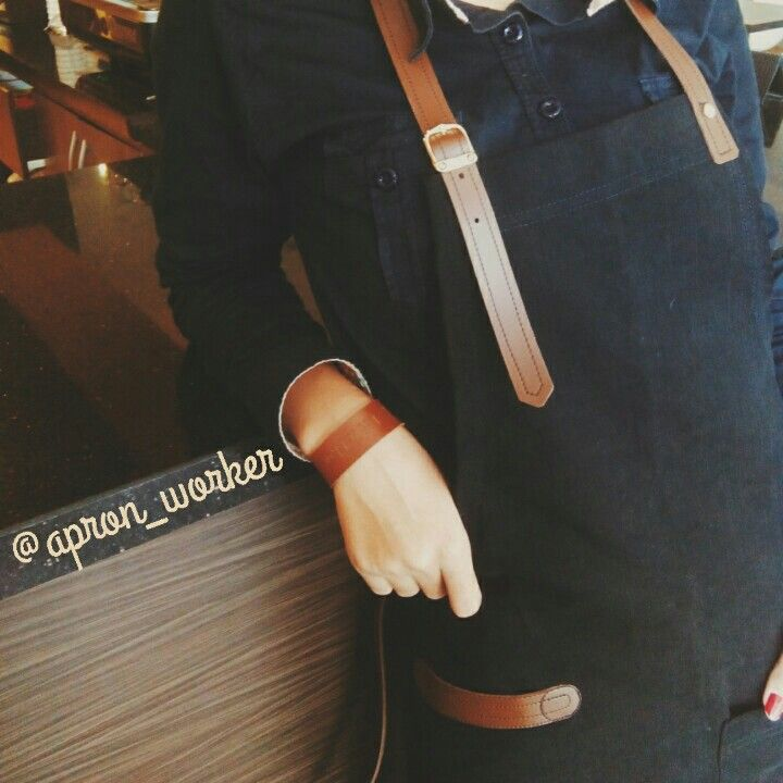 Apron barista from canvas material, available in 4 colours..black,grey,cream and brown. Check out on our account instagram @apron_worker. All apron made by order..